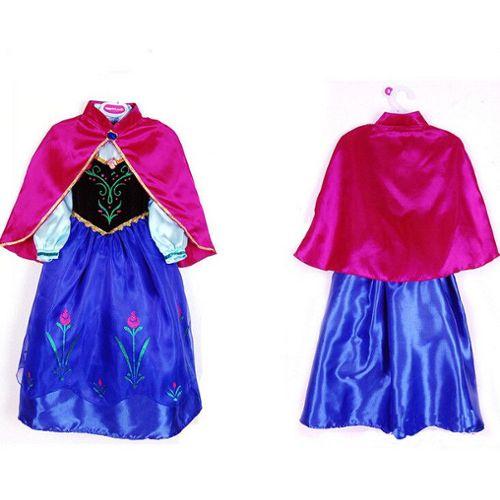Costume Déguisement Anna La Reine Des Neiges Robe + Cape Frozen