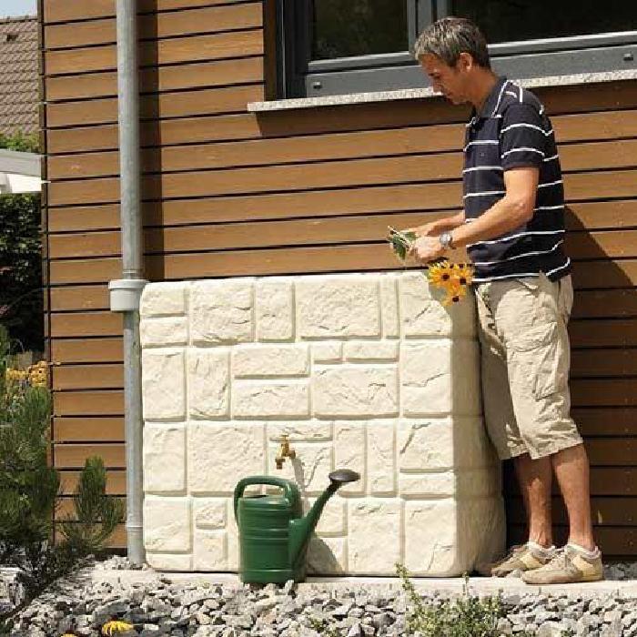 eau de pluie Récupérateur d'eau de pluie 300L look naturel