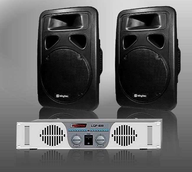 AMPLI 480 W + 2 ENCEINTES 2 x 600 W PACK SONO DJ NEUF A