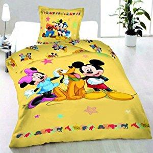 Parure de lit housse de couette Mickey Minnie Pluto Disney 100% coton