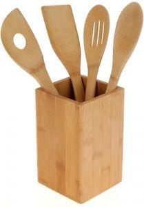 Bambou kit daccessoires pour la cuisine Panier a couverts Cuillere de