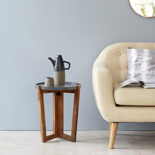 Tikamoon Bout de canapé en bois de palissandre gris 40 Niels pas