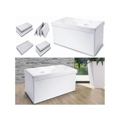ProBache Banc coffre rangement pliable blanc Gm 100x38x38 cm pas