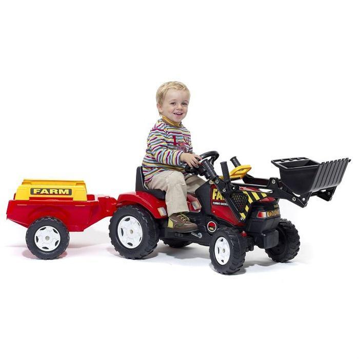 falk tracteur a pedales avec sa pelle frontale et sa remorque pour
