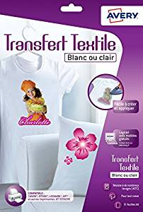 Papiers Transferts T shirt/Textile Blancs ou Clairs A4 Jet d