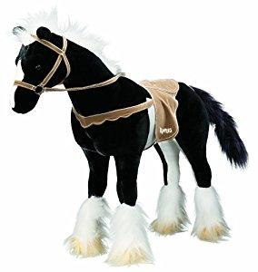 Peluche cheval noir avec le son: Jeux et Jouets