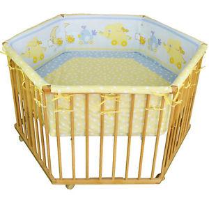 Parc bébé de luxe parc enfant 6 square parc de bebe bleu/jaune clair