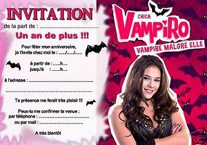5 ou 12 cartes invitation anniversaire chica vampiro REF