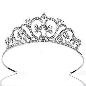 Diadème Couronne Bijoux Serre Tête d'Argent Strass Mariage Mariée