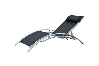 Transat Chaise longue textilene ajustable avec matelas crème en alu