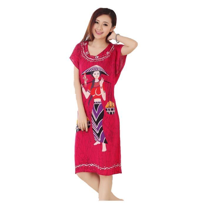 Femmes Pyjama Belle Chemise/ Robe de Nuit Robe de Bain Vintage Rouge