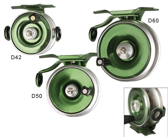 Moulinet rotatif à réserve de fil avec frein permanent et cliquet