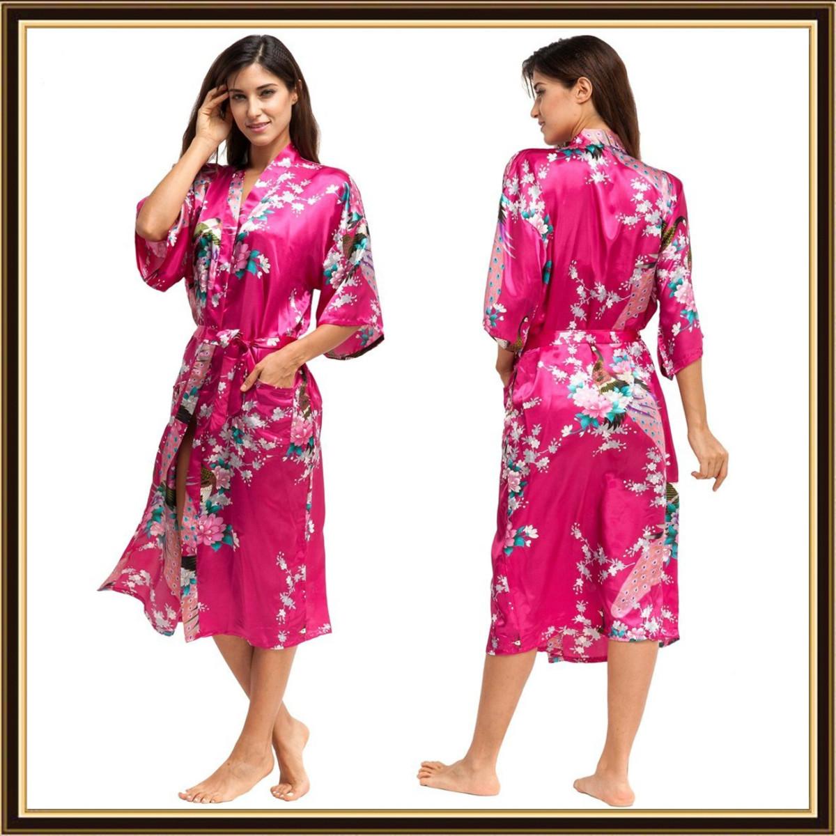 Cityoung Kimono Japonais En Satin Sexy Robe De Chambre Peignoir Femme