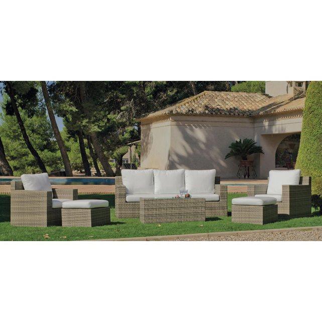 Ensemble jardin canapé et fauteuils abasari blanc anais (coussins