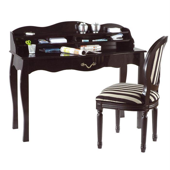 Bureau baroque noir 1 tiroir Louisa Achat / Vente bureau Bureau noir