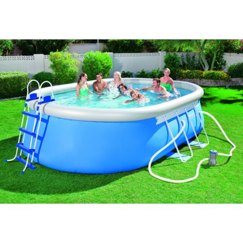 Best Way Piscine autoportante ovale bleue 5,49 x 3,66 x 1,22 m