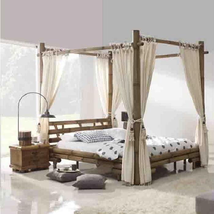 Lit à baldaquin en bambou : modèle JIMBARAN. Achat / Vente