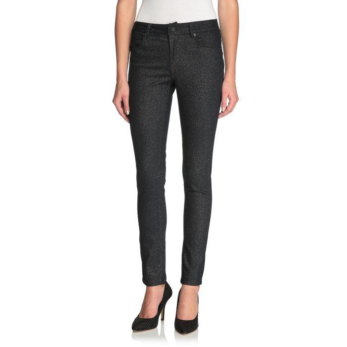 SWEEWE Pantalon Slim Femme Noir pailleté argenté Achat / Vente