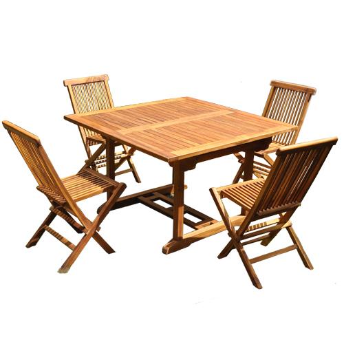 Salon De Jardin Teck Huilé 4/8 Pers Table Rect Larg 100cm 4 Chaises