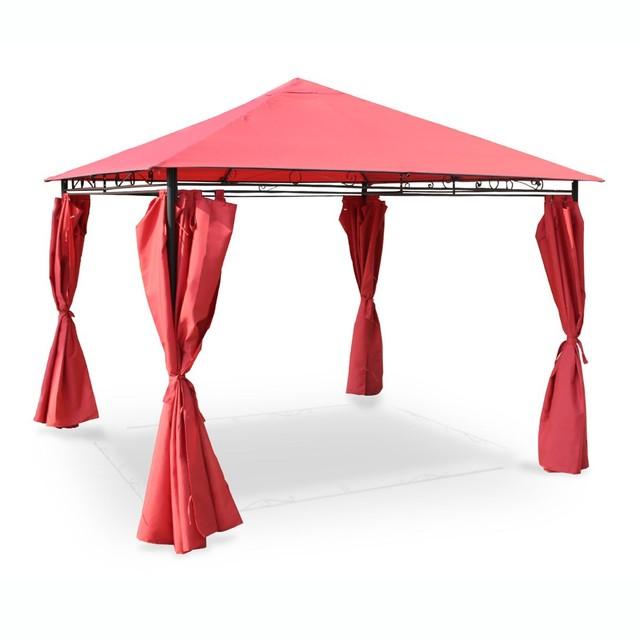 Tonnelle, pergola, chapiteau avec rideaux rouge 3 x 3m tente de