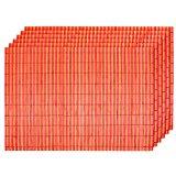 de 6 x Sets de table bicolore (145098 orange rouge ) Natte de bambou