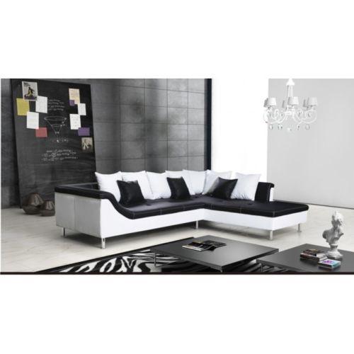 Meublesline Canapé d'angle 5 places moderne Mercure noir/blanc