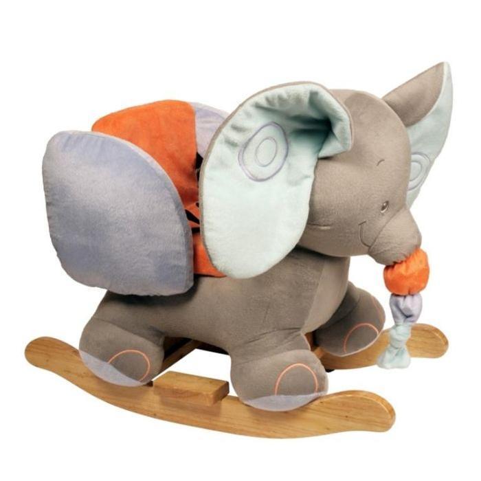 Bascule Eléphant Taupe, gris, bleu et orange Achat / Vente jouet