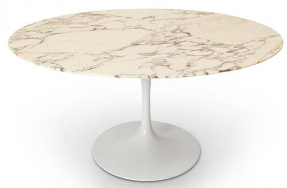 Table Ronde DE Repas Design Tulipe Plateau EN Marbre Marronné
