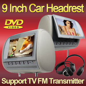 1×22 9cm Voiture Double Repose tete DVD CD SD Lecteur ecran tactile