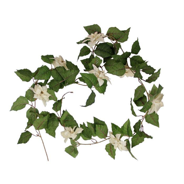 Guirlande de Poinsettia blanche Fleur en plastique, idéal pour une