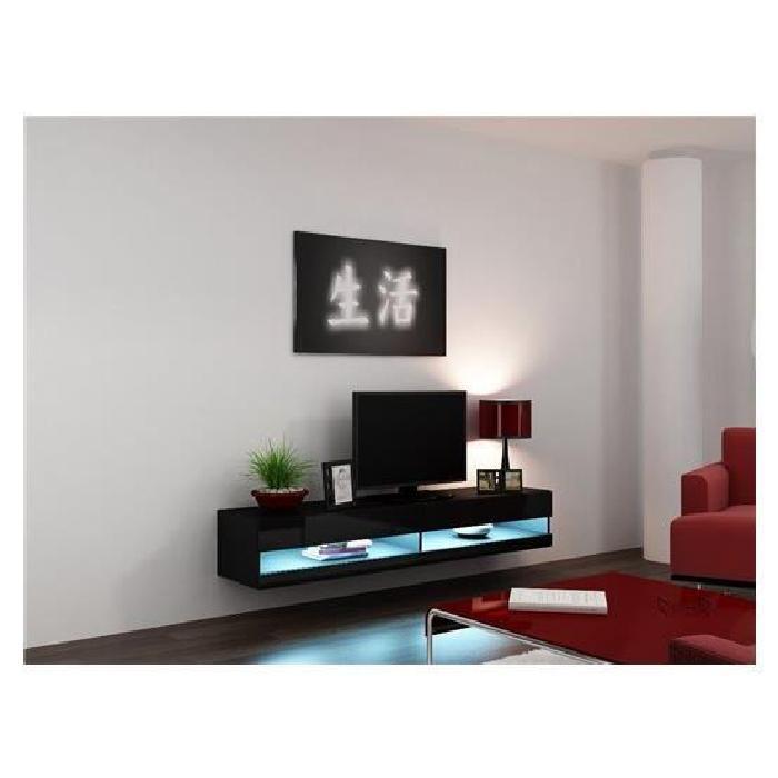 tv design suspendu LARMO New noir Achat / Vente meuble tv Meuble tv