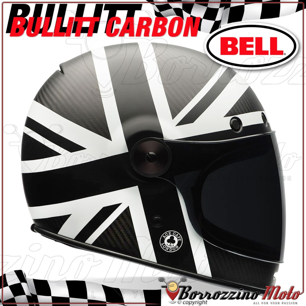 CASQUE INTEGRAL VINTAGE MOTO BELL BULLIT ACE CAFE BLACK JACK LIMITED