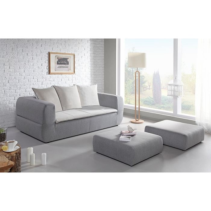SWEDEN Canapé convertible 3 places + 2 grands poufs 204x105x88 cm