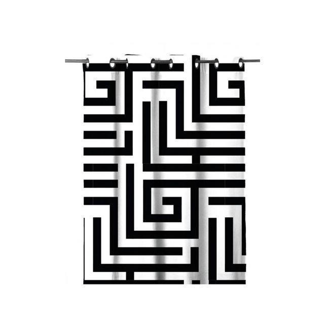 Rideau occultant 80% «khôl» noir/blanc Home Maison