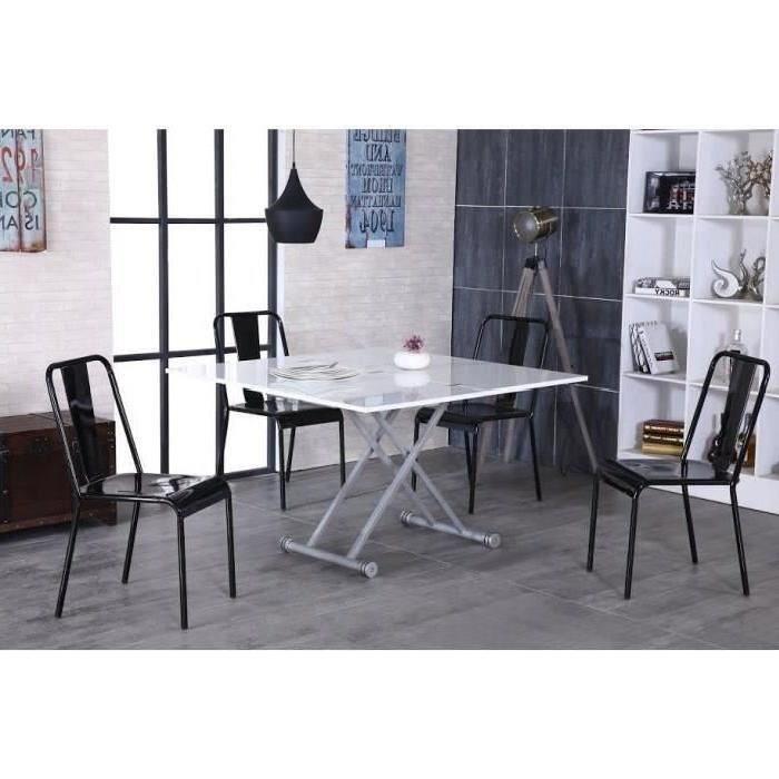 UPPER Table basse transformable, plateau relevable Laqué blanc