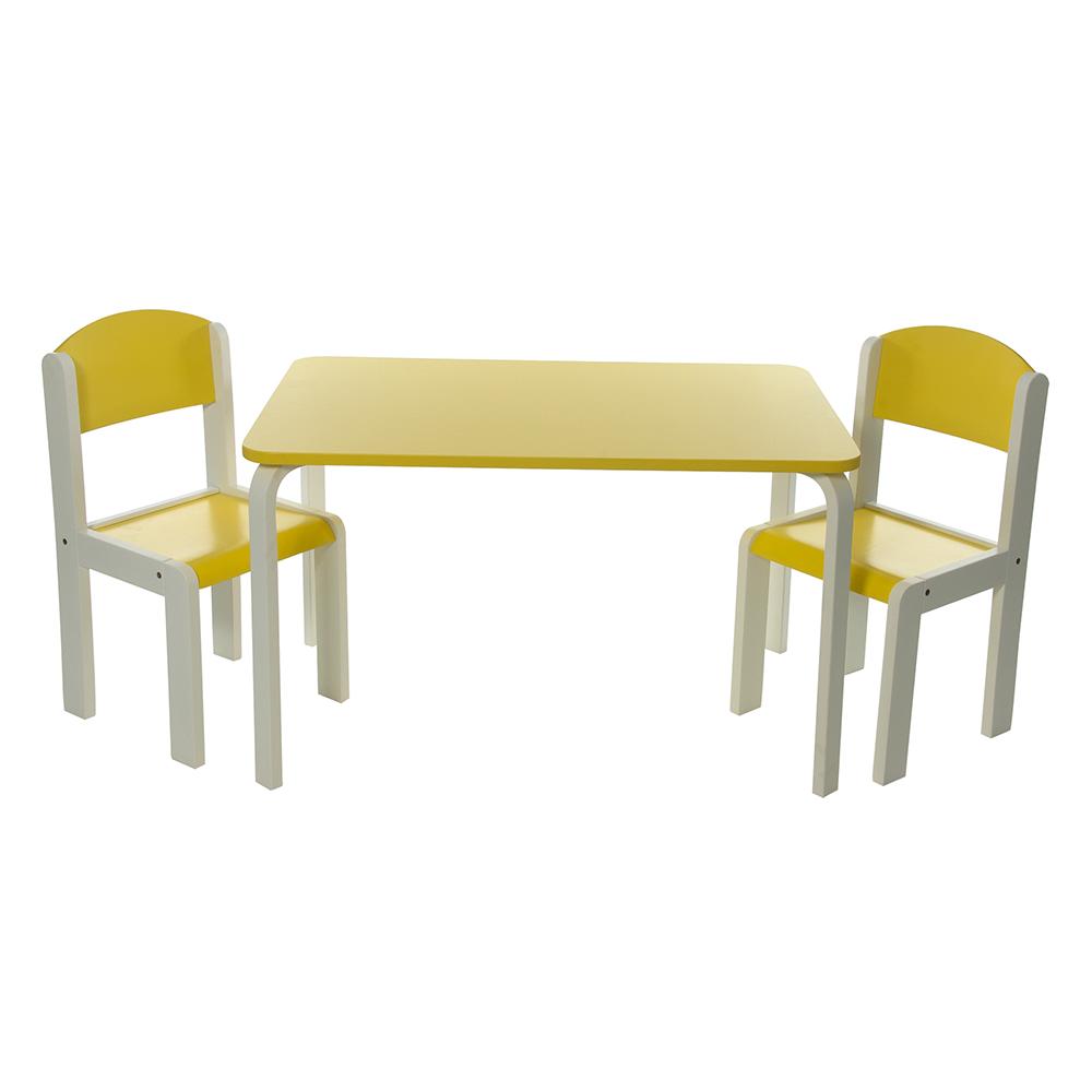 Neuf Ensemble Table ET Chaises Enfant Jaune EN Bois Fabio XL Momo FOR