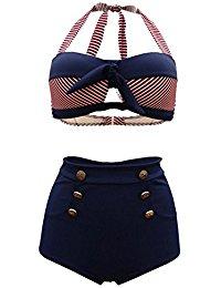 Vintage Bikini Retro Femme 2 pieces Maillot de bain Taille haute style