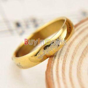 anneau en acier inoxydable New 4mm plaque or Le Seigneur des Anneaux