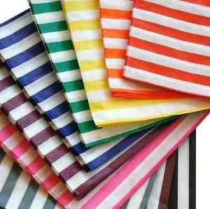 300 x bonbon rayé SACS PAPIER CADEAU SUCRERIE BUFFET 12.7×17.8cm