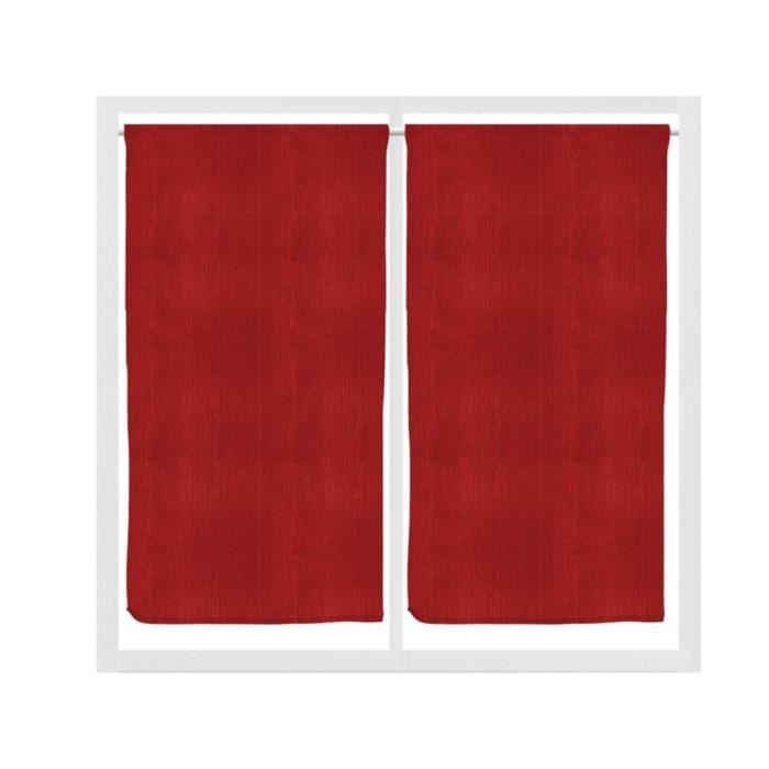 RIDEAU VOILAGE Paire de rideaux brise bise 45×90 cm CATHY Rouge