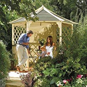 Gainsborough Kiosque de jardin Hexagonal en bois Eté Rowlinson Banc