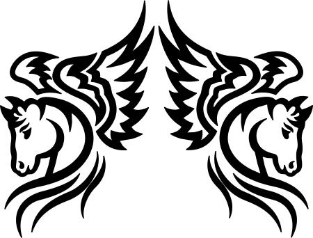2x 20cm Cheval Ailes D'ange Voiture Autocollant Auto Tribal Étiquette