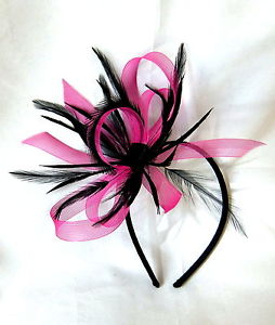 Rose Et Noir Chapeau Bibi Sur Un Peigne Bandeau Pour Les Cheveux Ou