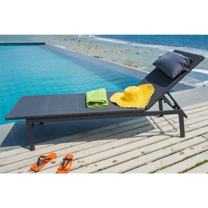 Noir Achat / Vente chaise longue Bain de soleil