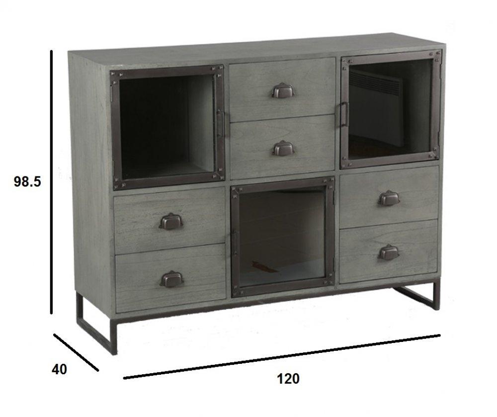 Commode INDUSTRY cérusé gris avec 6 tiroirs et 3 portes