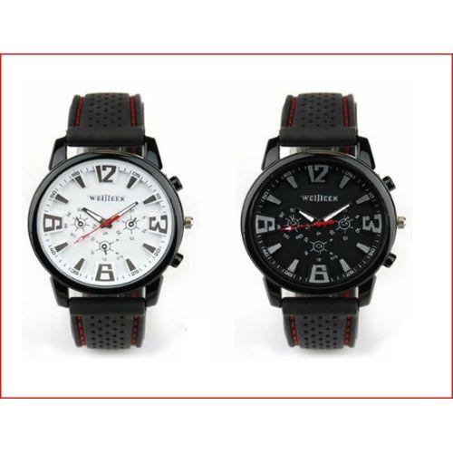 Montre Homme Rouge Sport Militaire Etanche Bracelet Silicone Vintage