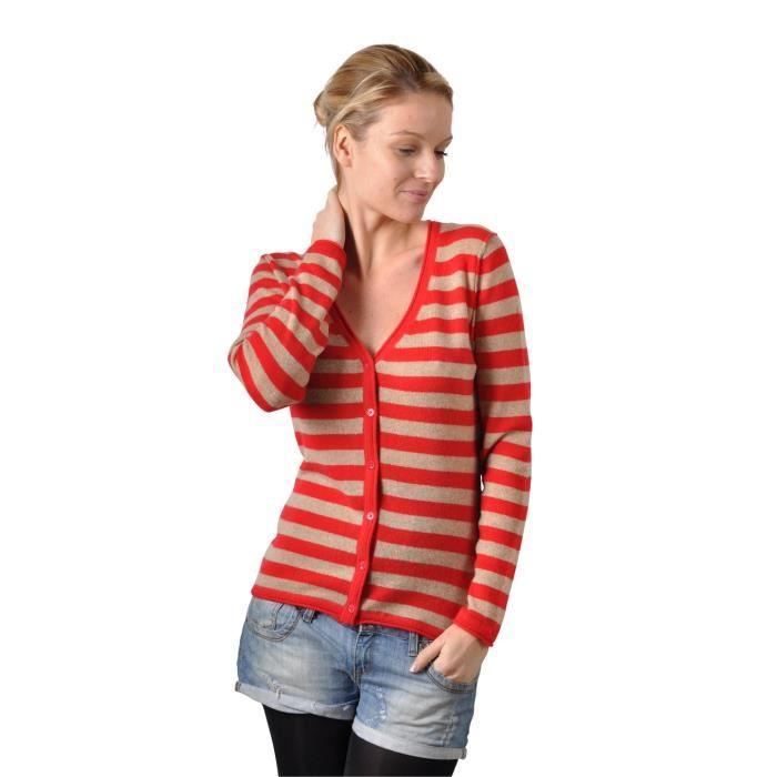 Gilet cachemire femme CAMILLE Rouge Achat / Vente gilet cardigan