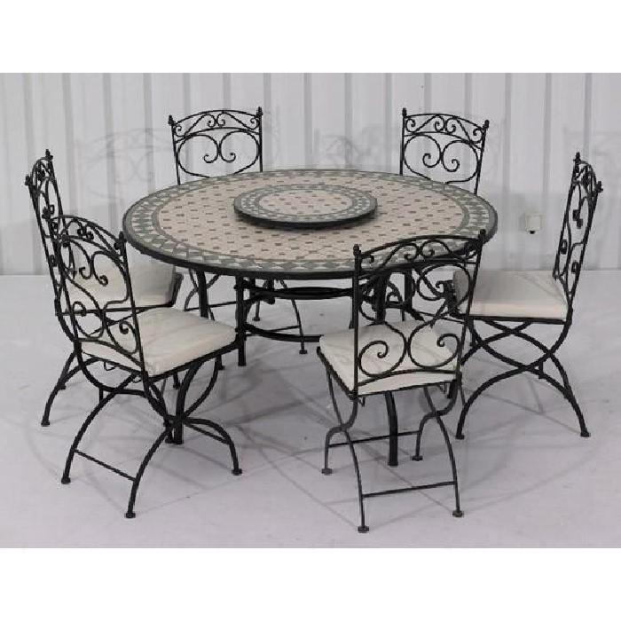 Terre Vert 1 table ronde + 6 chaises Achat / Vente salon de jardin
