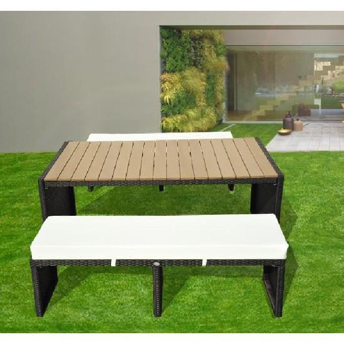 table bar 180cm avec 2 bancs plateau bois Achat / Vente salon de