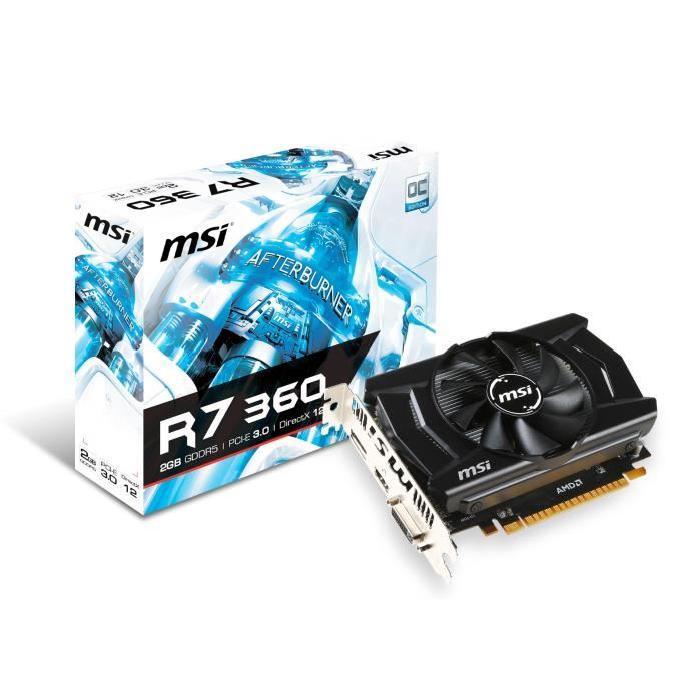 Carte graphique AMD Radeon? R7 360 GPU cadencé à 1100MHz